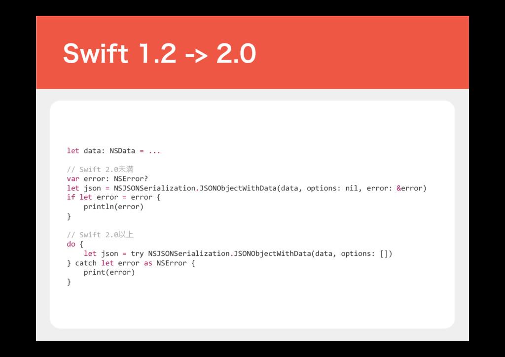 let data: NSData = ... // Swift 2.0ະຬ var erro...