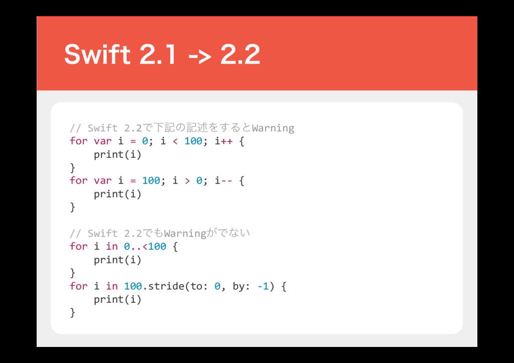 // Swift 2.2ͰԼهͷهड़Λ͢ΔͱWarning for var i = 0; i ...
