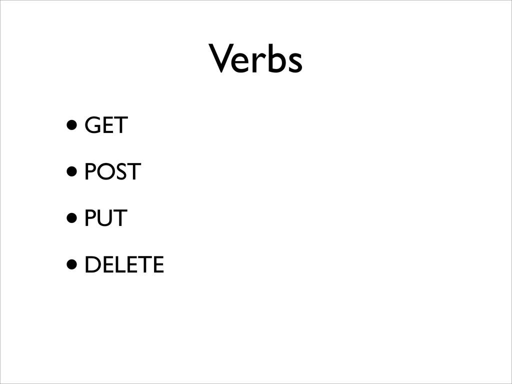 Verbs •GET  •POST  •PUT  •DELETE