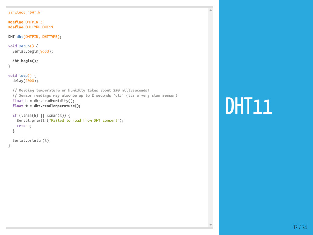 """#include """"DHT.h"""" #define DHTPIN 3 #define DHTTY..."""