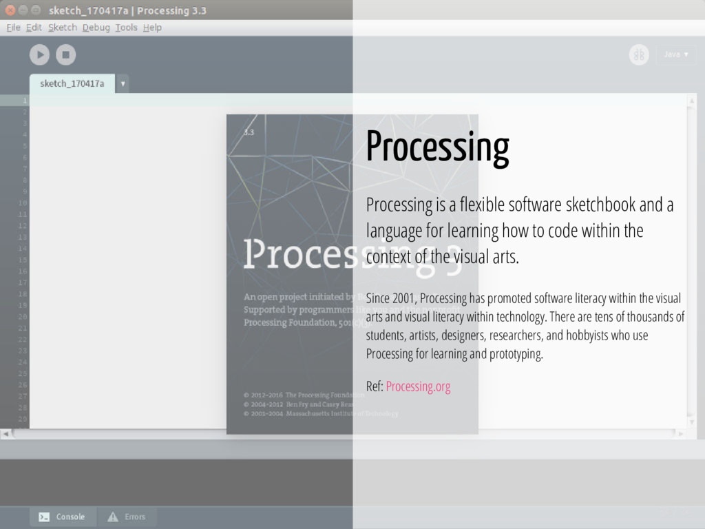 34 / 74 Processing Processing is a exible softw...
