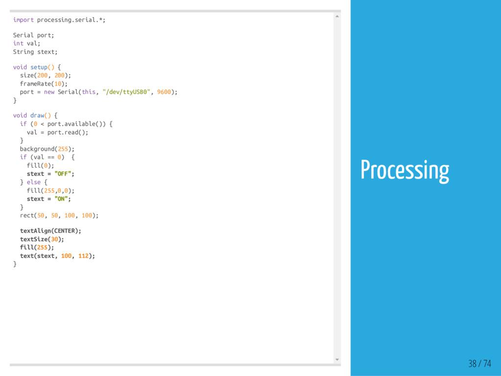 import processing.serial.*; Serial port; int va...
