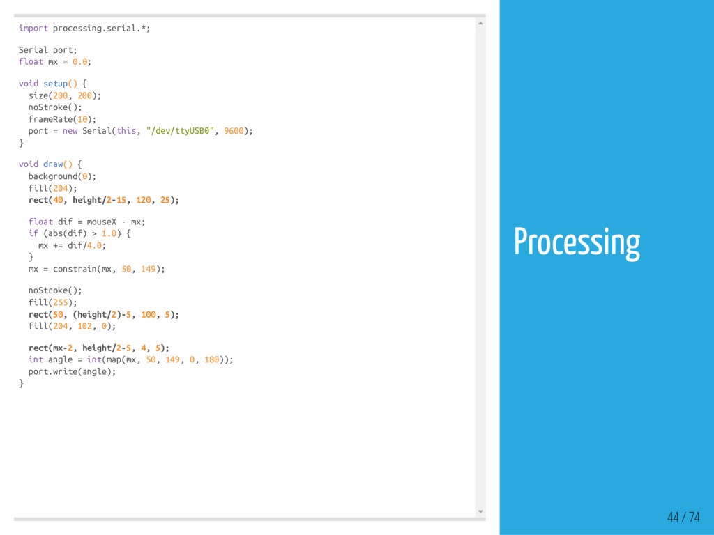 import processing.serial.*; Serial port; float ...