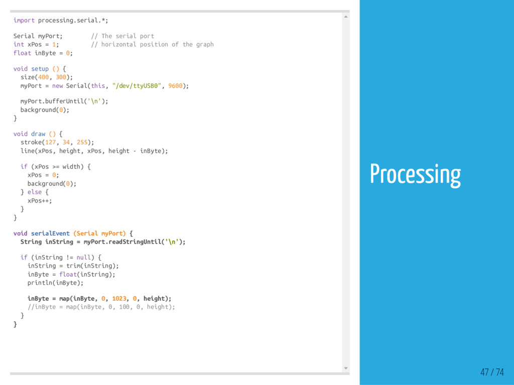 import processing.serial.*; Serial myPort; // T...
