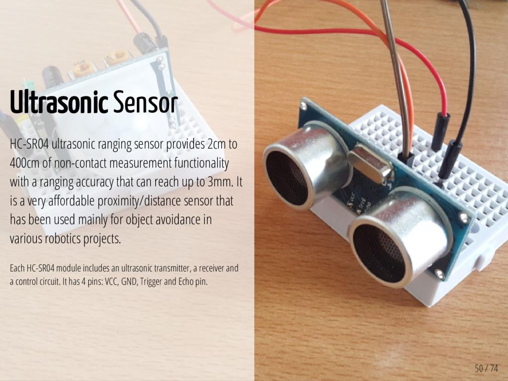 50 / 74 Ultrasonic Sensor HC-SR04 ultrasonic ra...
