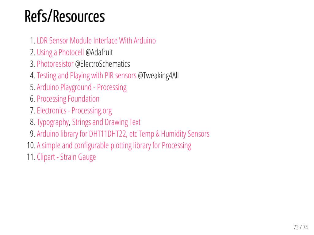 Refs/Resources 1. LDR Sensor Module Interface W...