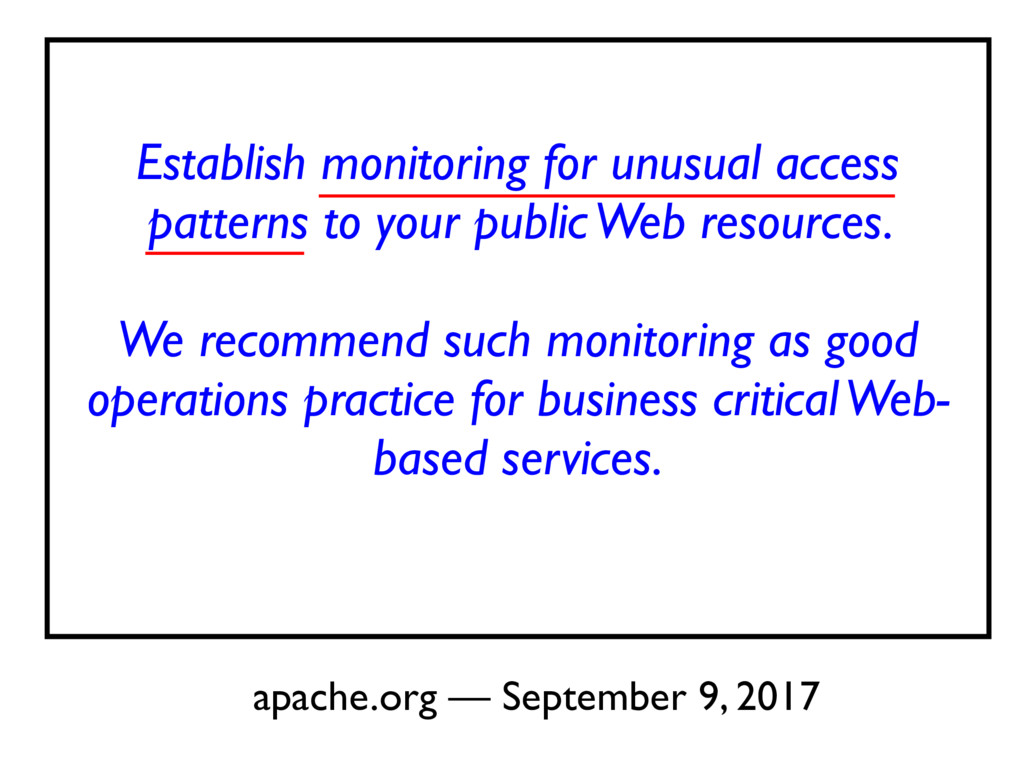Establish monitoring for unusual access pattern...