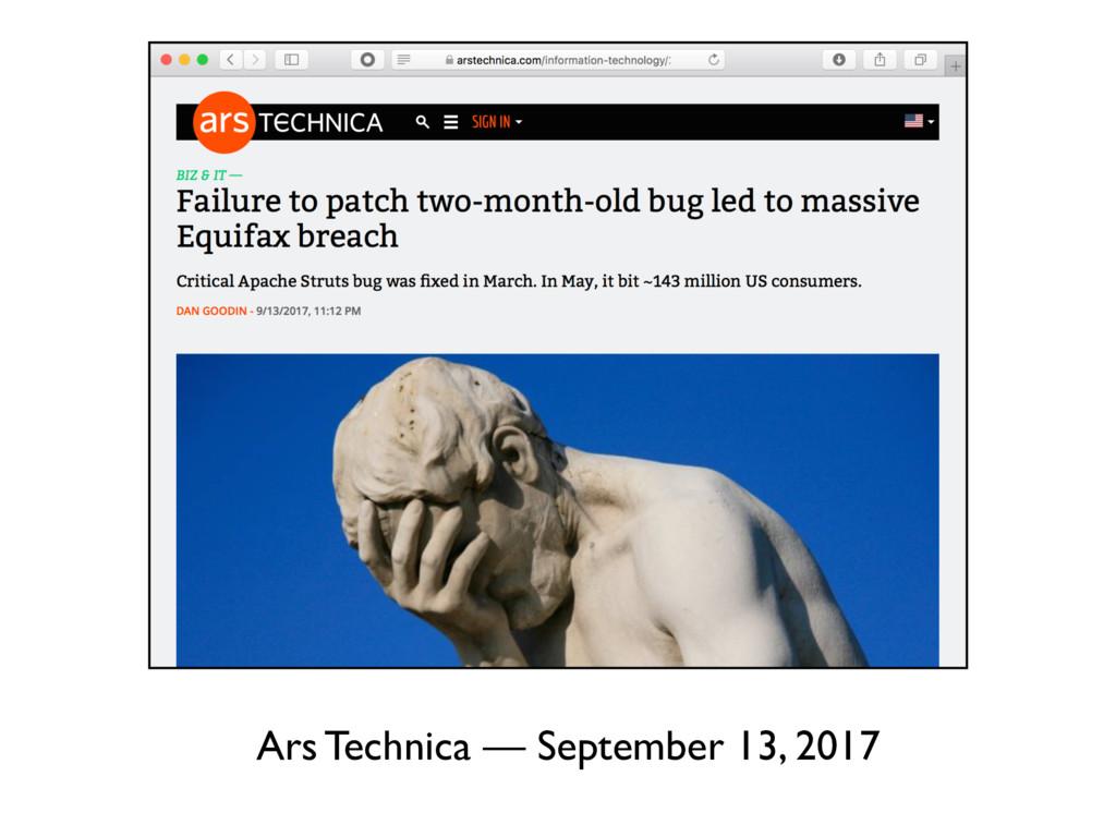 Ars Technica — September 13, 2017