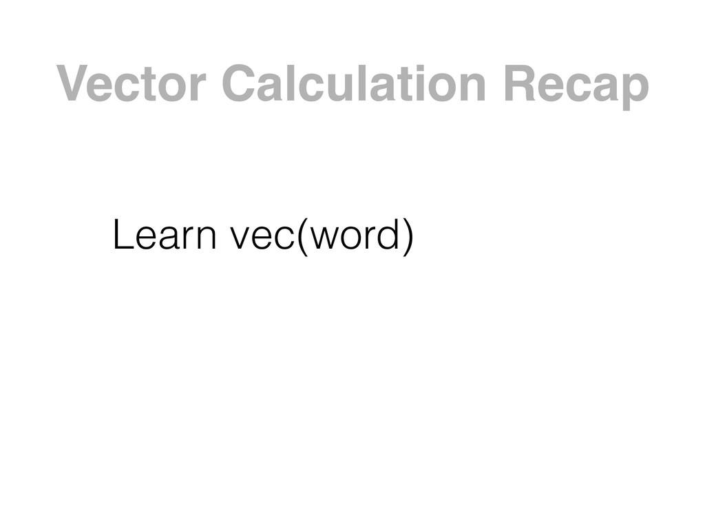 Vector Calculation Recap Learn vec(word)