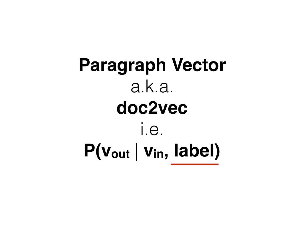 Paragraph Vector a.k.a. doc2vec i.e. P(vout | v...
