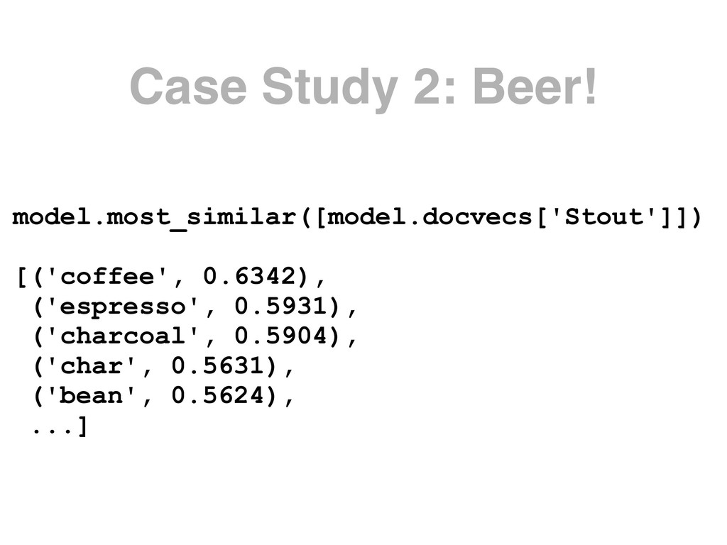Case Study 2: Beer! model.most_similar([model.d...