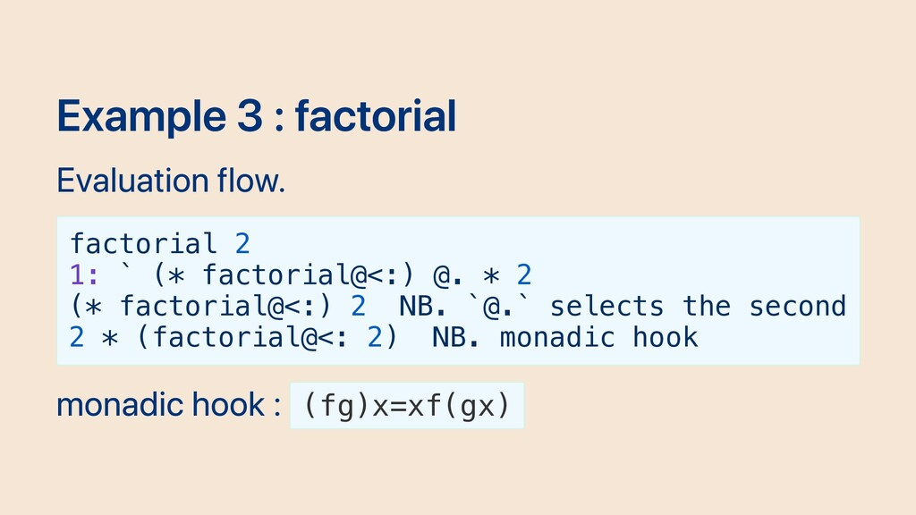 Example 3 : factorial Evaluation flow. factoria...