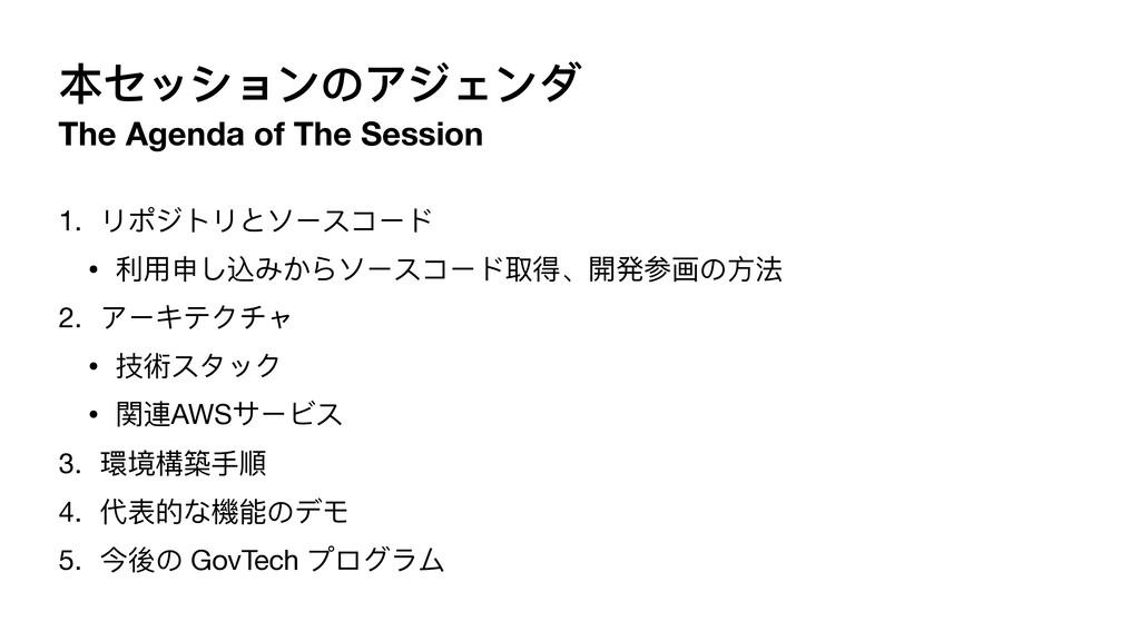 本セッションのアジェンダ The Agenda of The Session 1. リポジトリ...