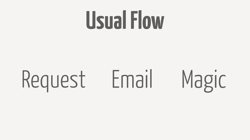 Usual Flow Request Email Magic