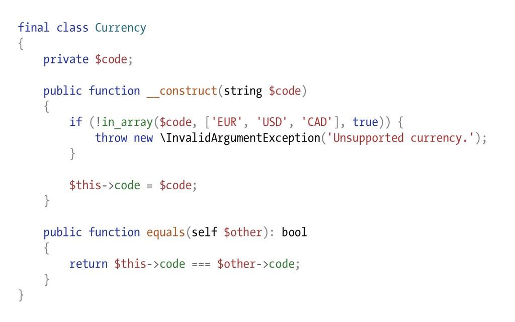 final class Currency { private $code; public fu...