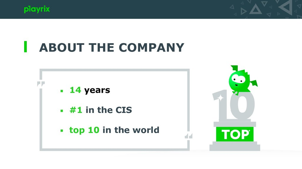 ABOUT THE COMPANY 14 years #1 in the CIS top 10...