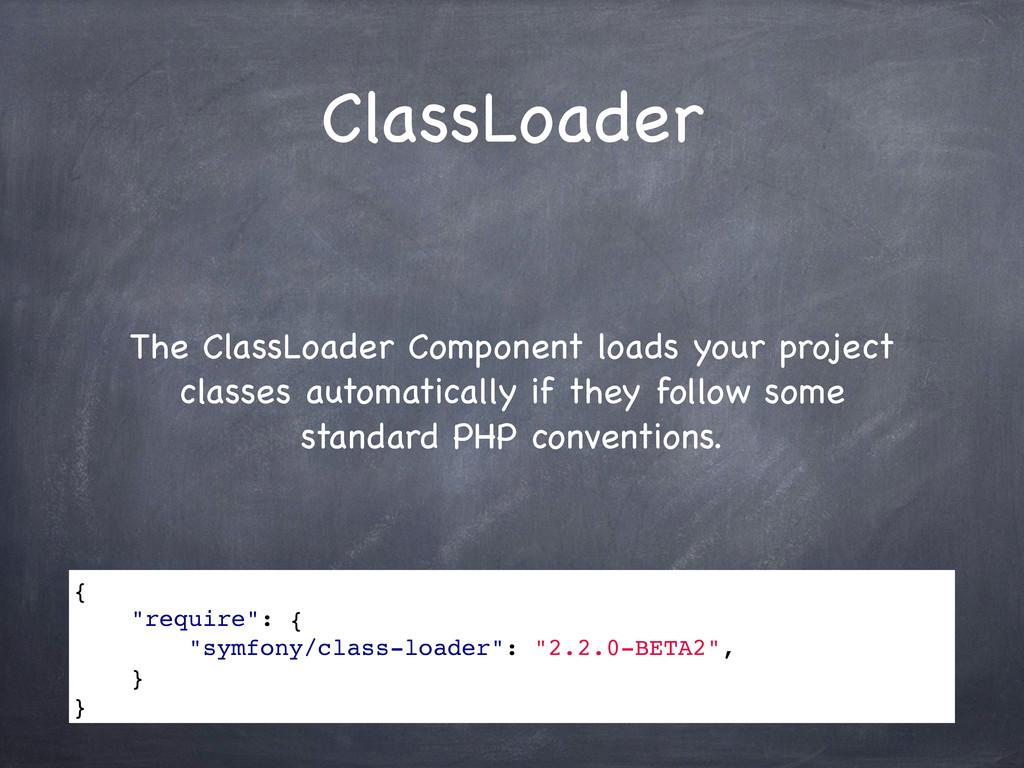 ClassLoader The ClassLoader Component loads you...