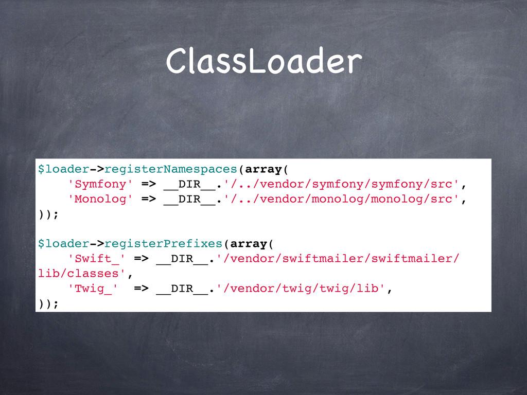 ClassLoader $loader->registerNamespaces(array( ...