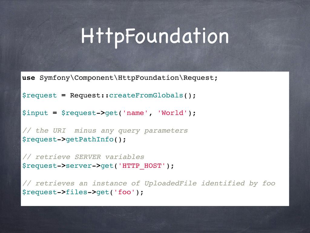 HttpFoundation use Symfony\Component\HttpFounda...