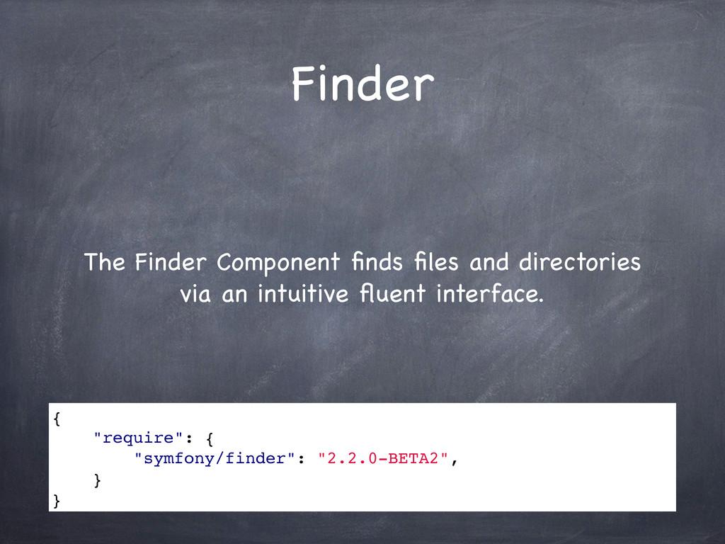 Finder The Finder Component finds files and direc...