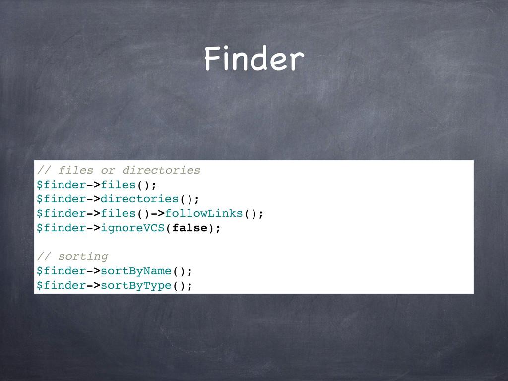 Finder // files or directories $finder->files()...