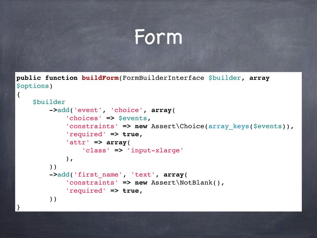 Form public function buildForm(FormBuilderInter...