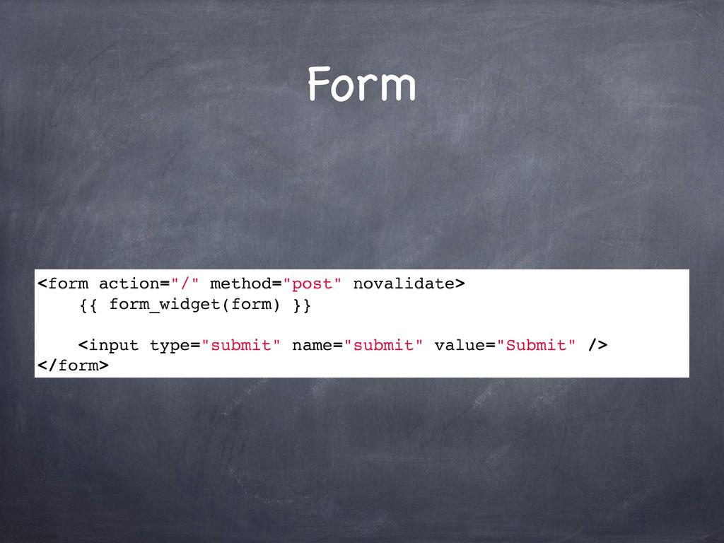 """Form <form action=""""/"""" method=""""post"""" novalidate>..."""