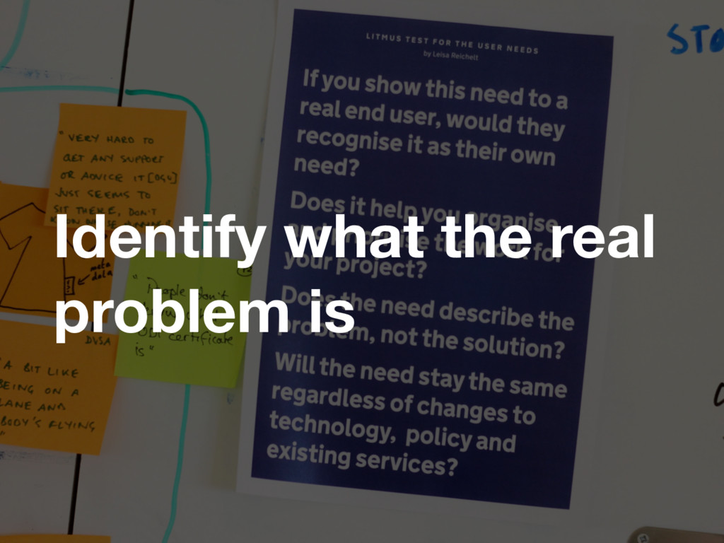 Identify what the real problem is