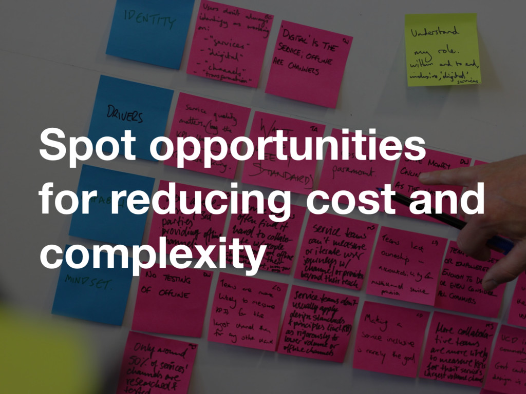 Spot opportunities for reducing cost and comple...