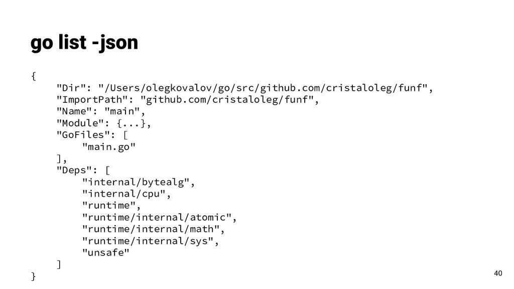 "go list -json 40 { ""Dir"": ""/Users/olegkovalov/g..."
