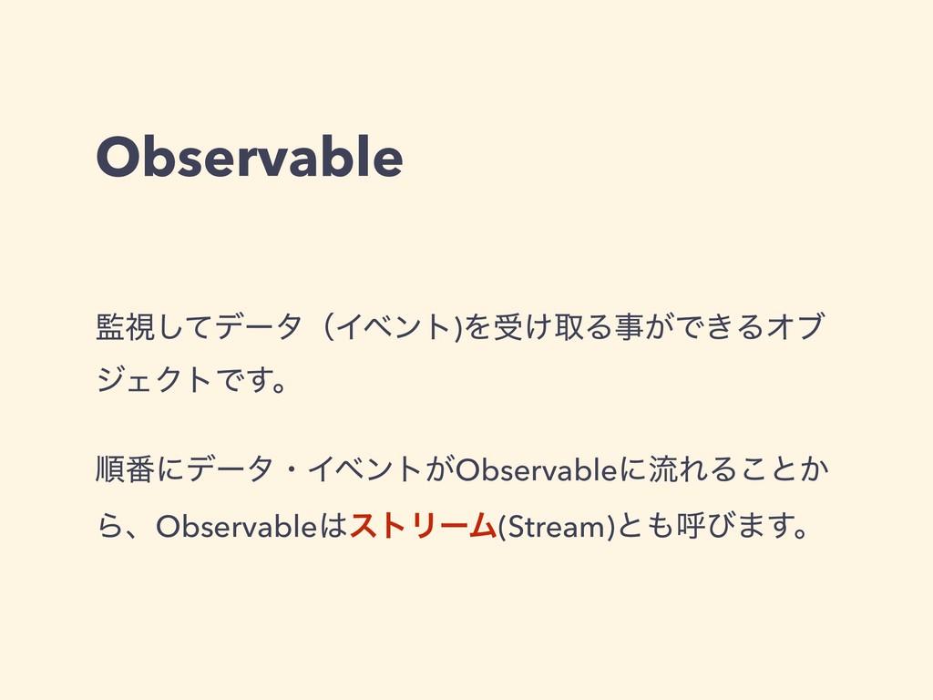 Observable ࢹͯ͠σʔλʢΠϕϯτ)Λड͚औΔ͕Ͱ͖ΔΦϒ δΣΫτͰ͢ɻ ॱ൪...
