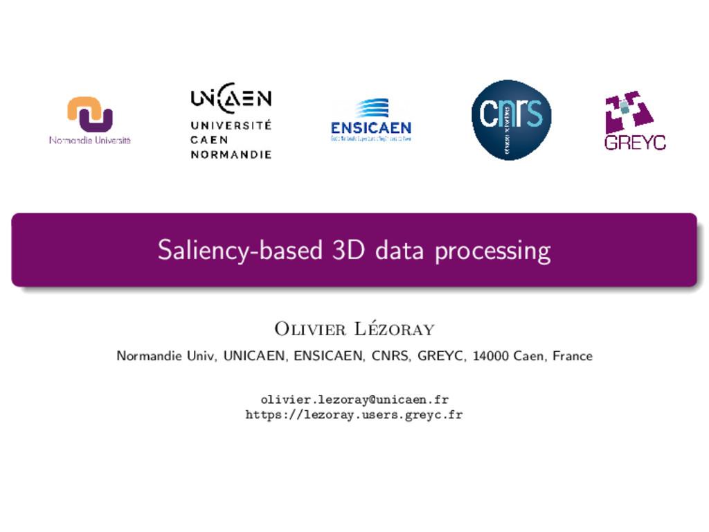 Saliency-based 3D data processing Olivier L´ ez...