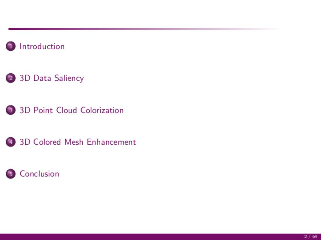 1 Introduction 2 3D Data Saliency 3 3D Point Cl...