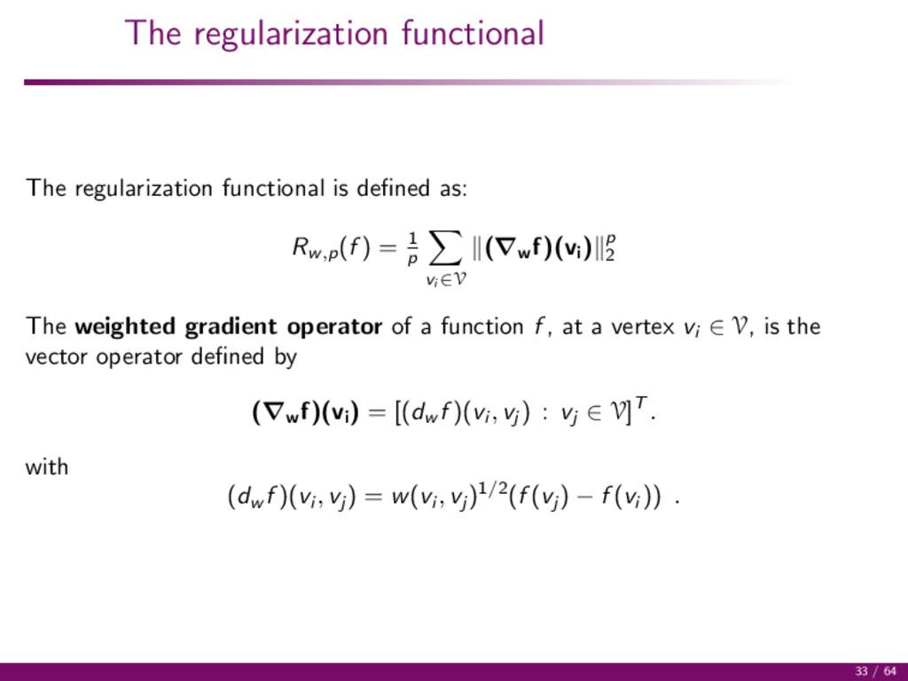 The regularization functional The regularizatio...