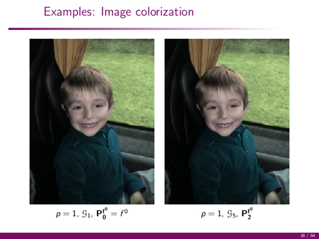 Examples: Image colorization p = 1, G1 , Pf0 0 ...