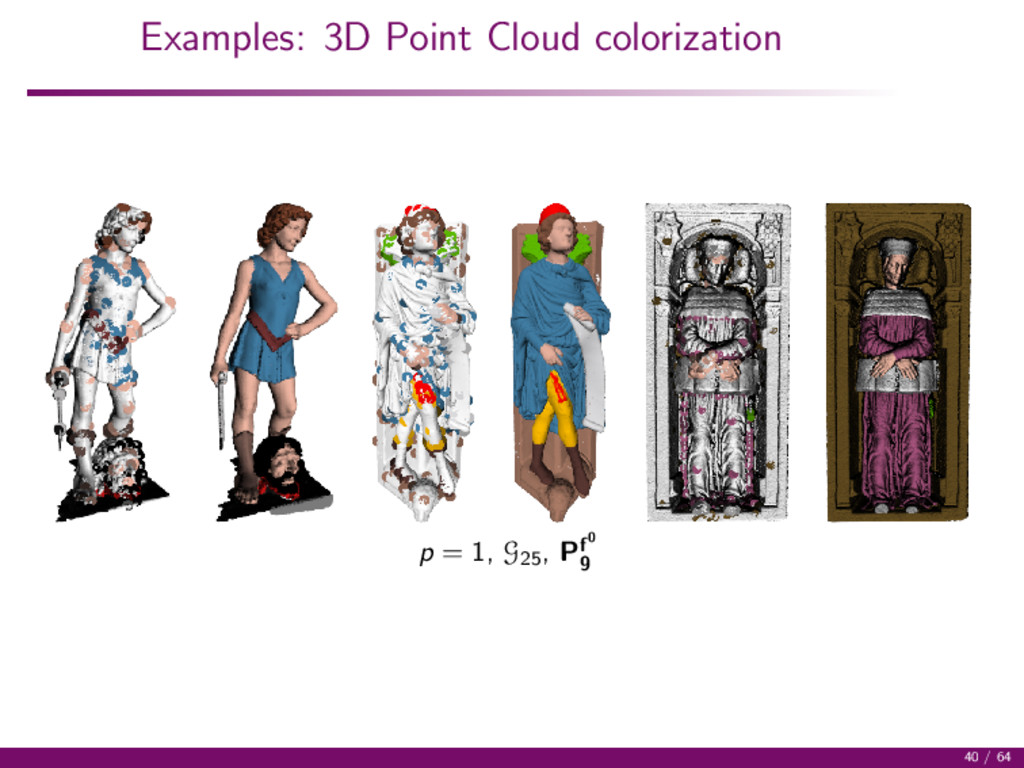 Examples: 3D Point Cloud colorization p = 1, G2...