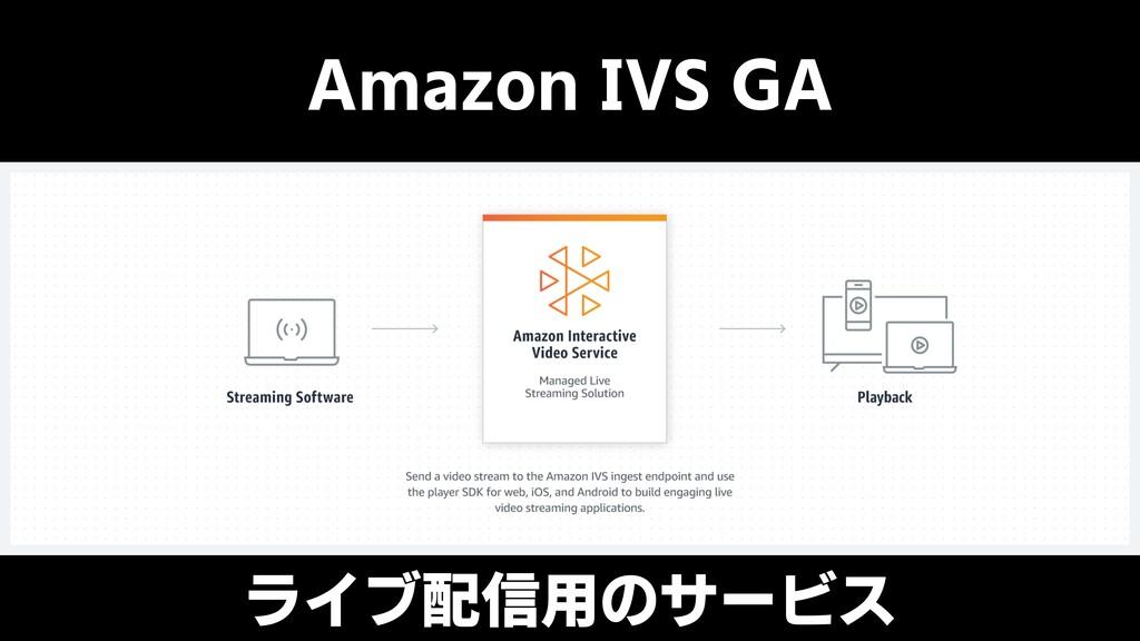 Amazon IVS GA ライブ配信用のサービス