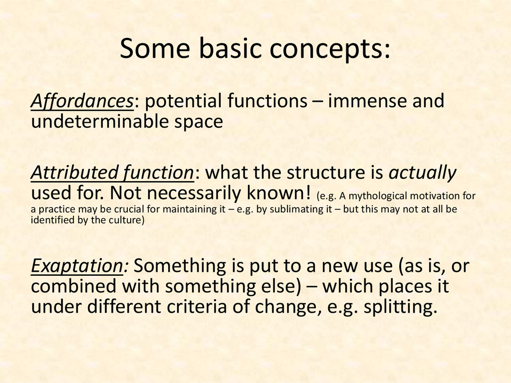 Some basic concepts: Affordances: potential fun...