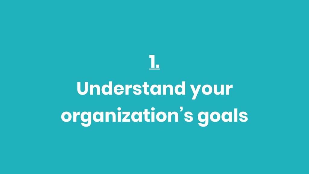 1. Understand your organization's goals