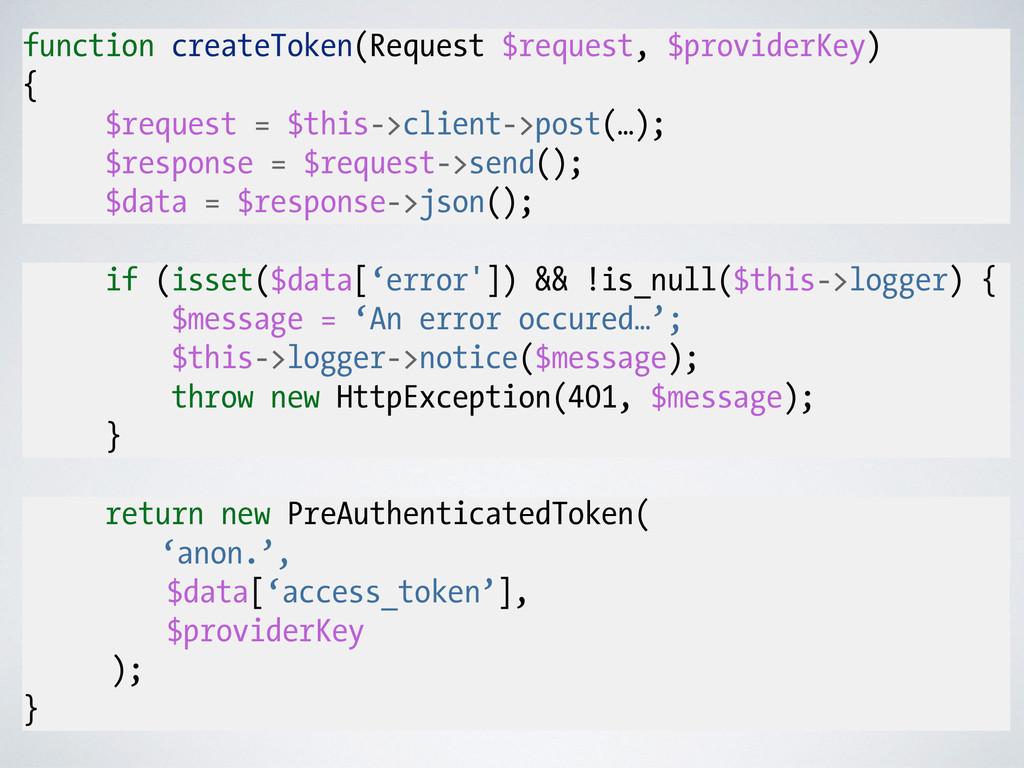 function createToken(Request $request, $provide...