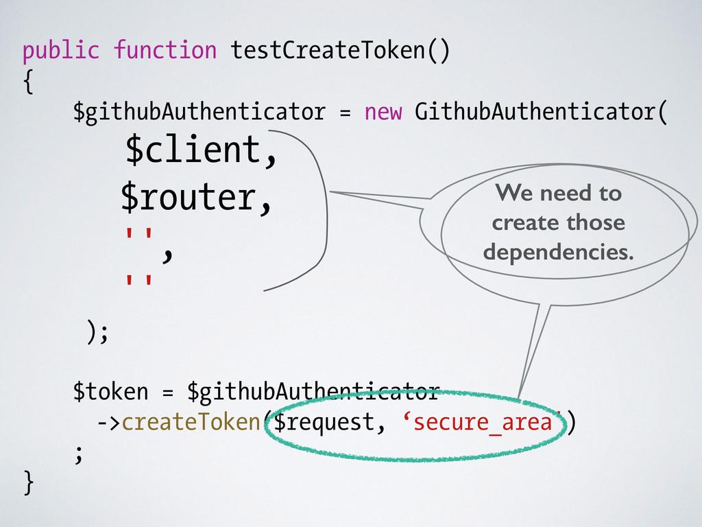 public function testCreateToken() { $githubAuth...