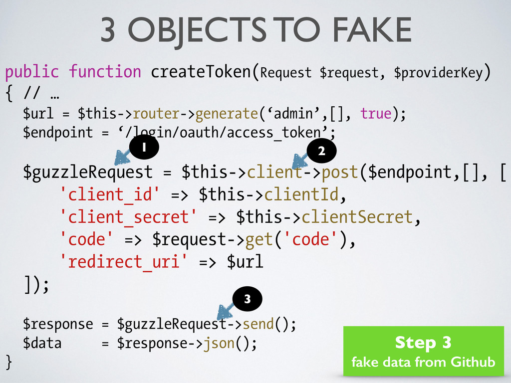 3 OBJECTS TO FAKE public function createToken(R...