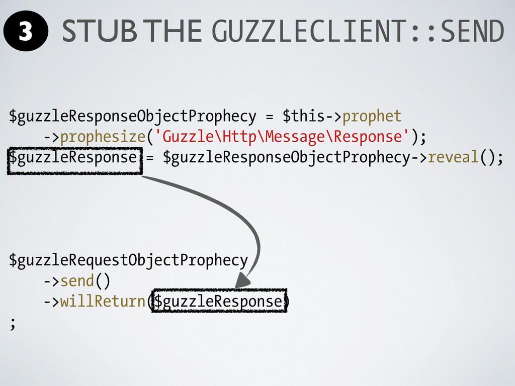 $guzzleResponseObjectProphecy = $this->prophet ...
