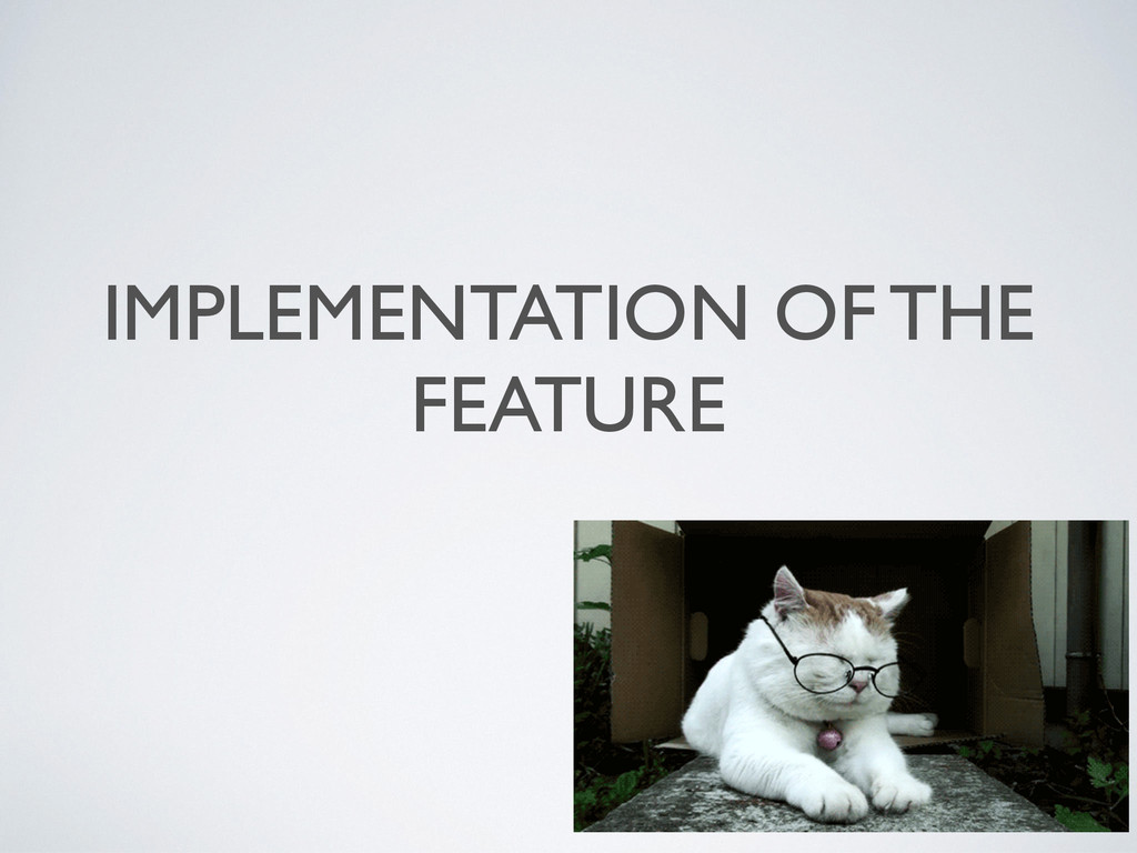 IMPLEMENTATION OF THE FEATURE