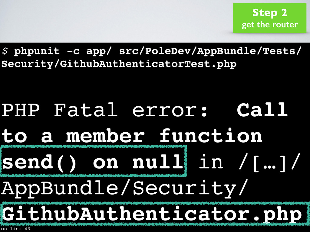 $ phpunit -c app/ src/PoleDev/AppBundle/Tests/ ...