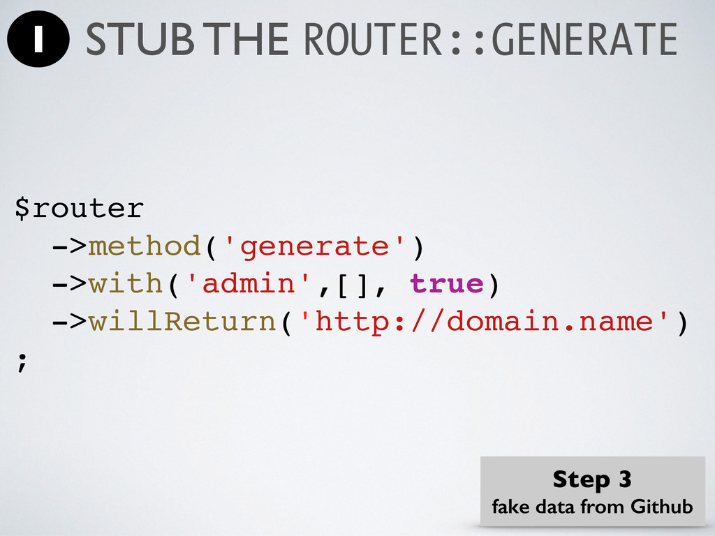 $router ->method('generate') ->with('admin',[],...