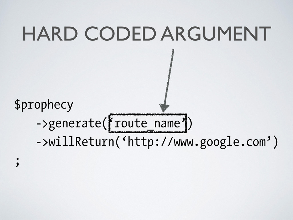 HARD CODED ARGUMENT $prophecy ->generate('route...