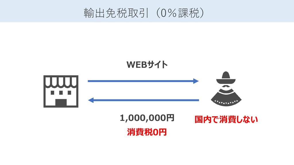 1,000,000円 消費税0円 輸出免税取引(0%課税) 国内で消費しない WEBサイト
