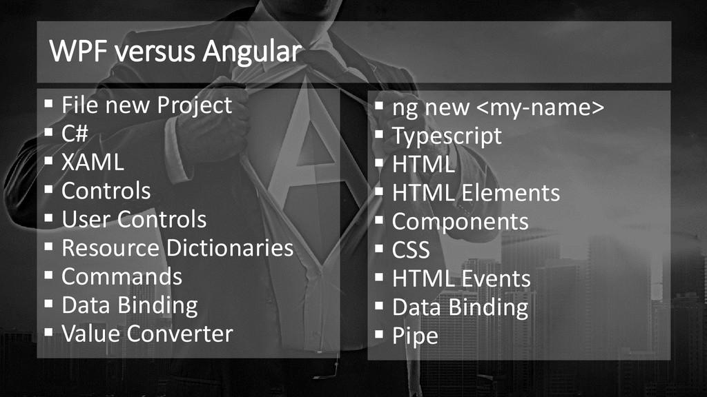 WPF versus Angular ▪ File new Project ▪ C# ▪ XA...