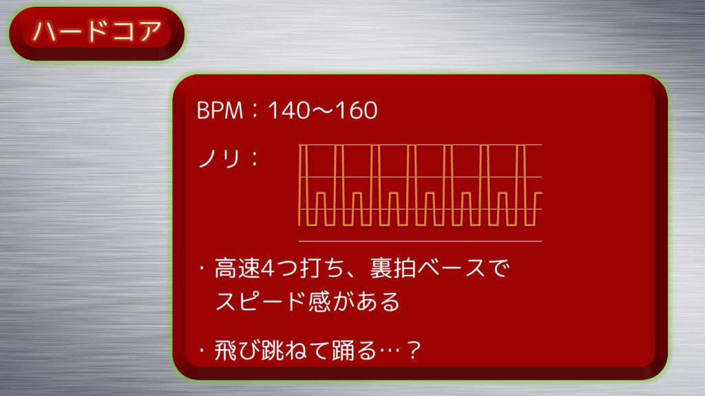 ハードコア BPM:140~160 ノリ: ・高速4つ打ち、裏拍ベースで スピード感がある ・...